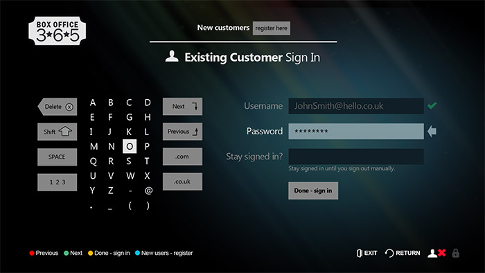BiBC IPTV sign-in screen